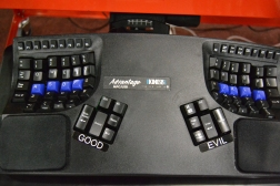 Ultra ergonomic keyboard used by one of the ChefSteps developers