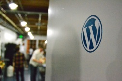 WordPress sticker on the door