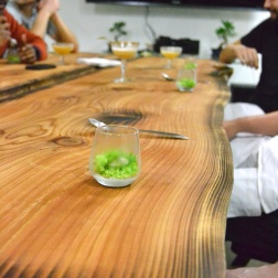 Cryo Shucked Kushi Oyster pine needle granita. lemon juice