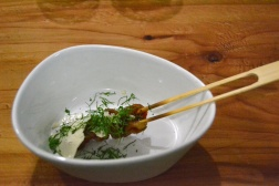 Yakitori Chicken Skin Point Reyes blue cheese, frank's wing sauce. chinese celery leaves.